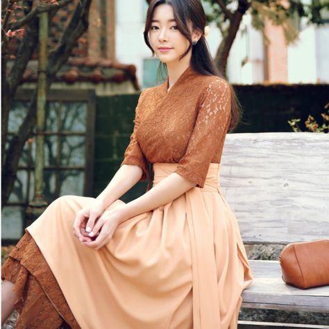 Beautiful Modern Hanbok Dress For Women   Hanbok Skirt   Midi Dress   Korean Style (CL00004C)