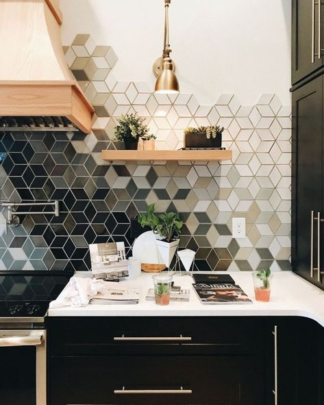20+ Lovely Geometric Backsplash Tile Kitchen Cool Ideas Normally I like white but this is a beauty