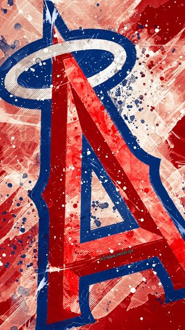 Los Angeles Angels 4k Grunge Art Logo American Baseball Club Mlb Red Background Emblem Anaheim Cal Baseball Wallpaper Mlb Wallpaper Los Angeles Angels