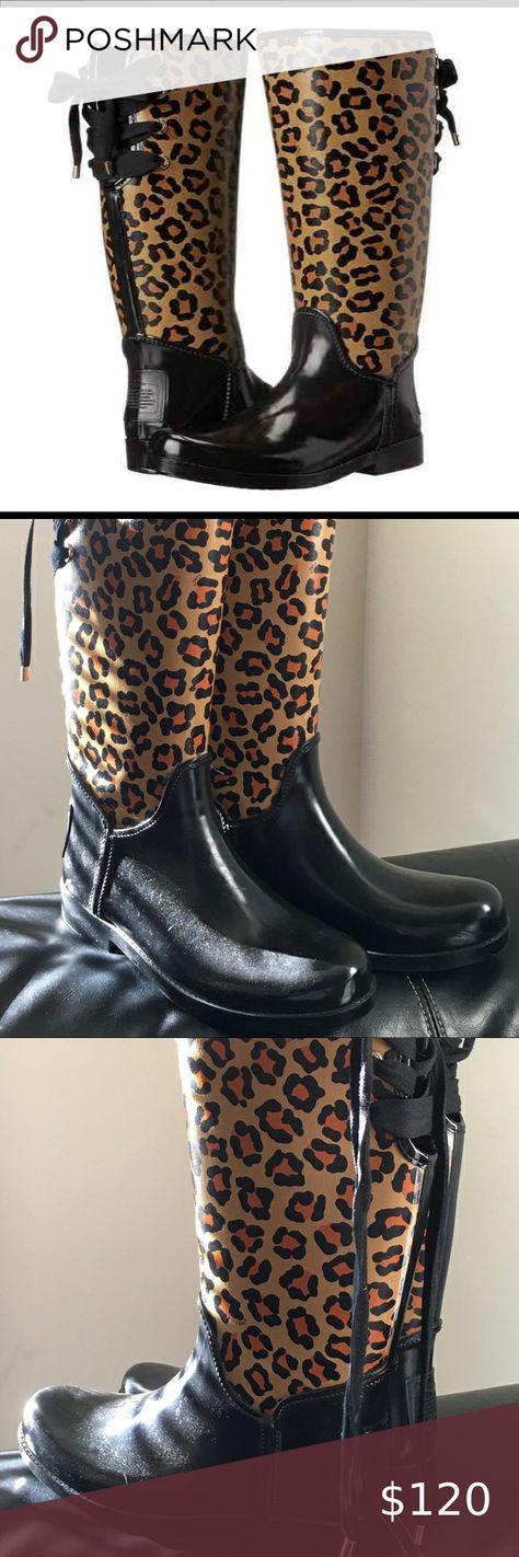 Coach Tristee Rain Boots Leopard Print