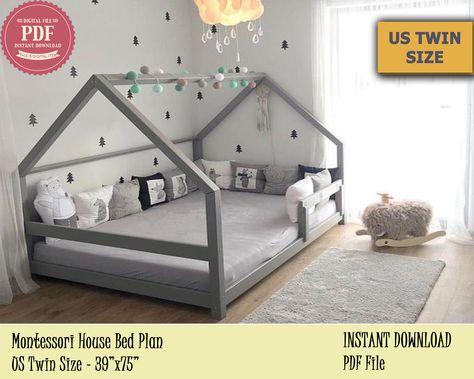 Montessori Bed, Twin Bed Plan, Toddler Bed, House Bed Frame , DIY Wooden Floor Bed for Kids Bedroom - Modern