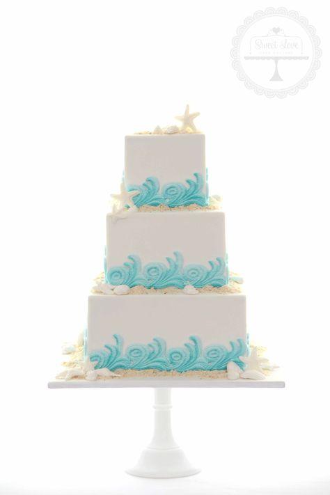 Seaside themed wedding cake