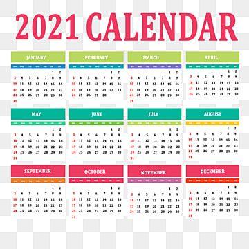Multiple Color 2021 Calendar 2021 Calendar Calendar Template Calendar Design Template