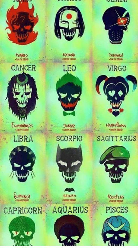 Aquarius, Cancer, and Capricorn: DABLO  KATANA  CANCER  LEO  VIRGO  LIBRA  SCORPIO SAGITTARIUS  LIPKNOT  SATMAN  RickFLAG  CAPRICORN AQUARIUS PISCES