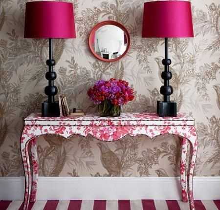great idea for redecorating furniture: linning,sticking or painting flowers