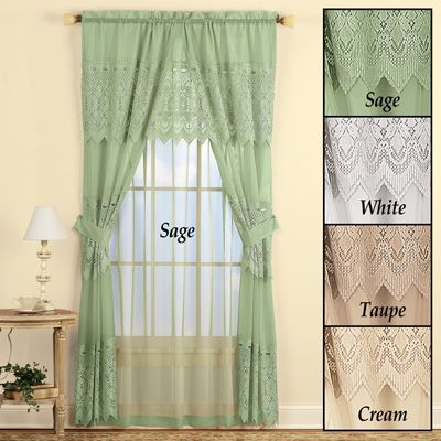 Sheer Lace Curtain And Valance Set Lace Curtains Curtains