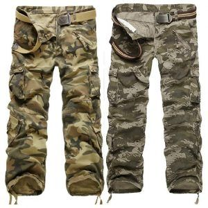 Macondoo Mens Multi Pockets Slim Trousers Cargo Washed Outdoor Pants