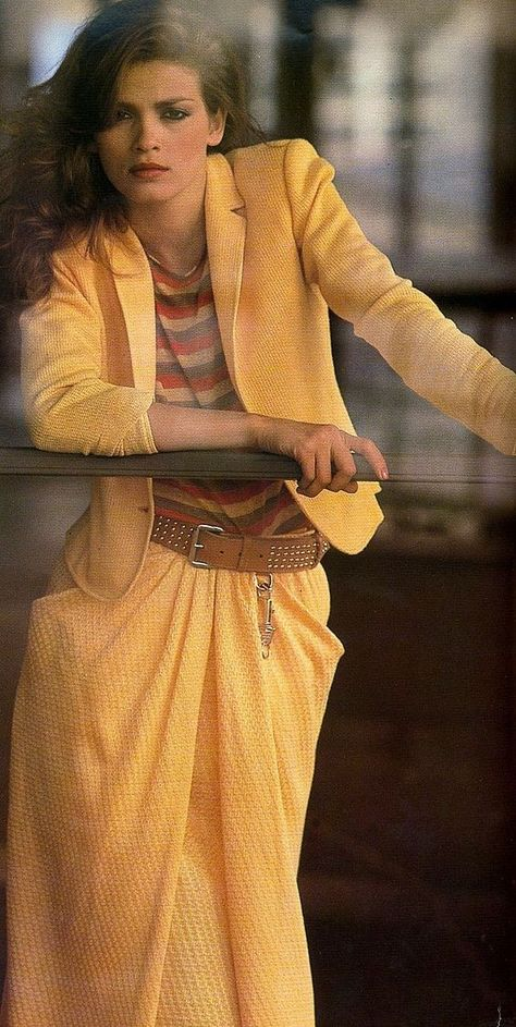 Model Gia Carangi modeling a yellow skirt suit. Check out more of our yellow thematic for vintage style in MAY 2018
