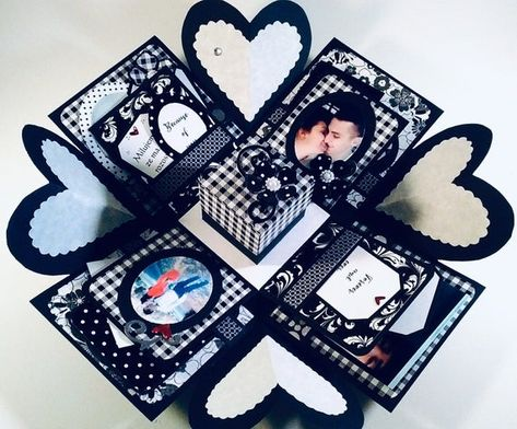 Explosion Box - ANY OCCASION - 2, 3 OR 4 Layers with Heart Corners - Personalized and Embellished -