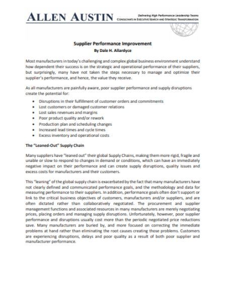 Performance Improvement Plan Template 30 Review Templates To