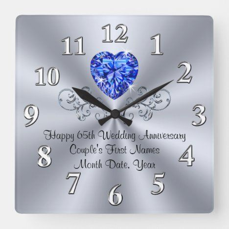 Heart Sapphire 65th Wedding Anniversary Gift Ideas Square Wall Clock Zazzle Com In 2020 65th Wedding Anniversary Wedding Anniversary Gifts Anniversary Party Supplies