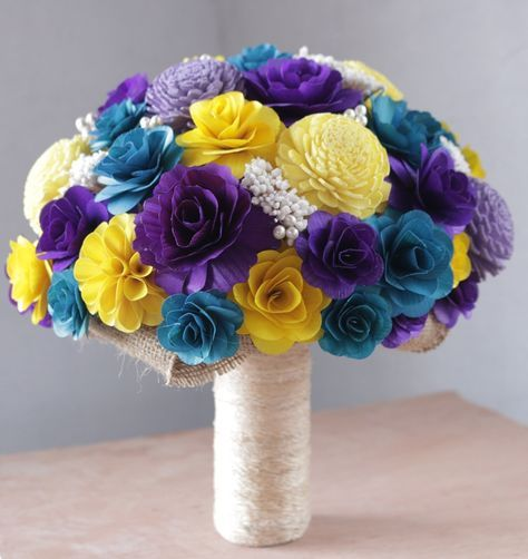 Turquoise Purple And Yellow Wedding Bouquets Corsages And