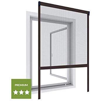 Wip Alu Insektenschutz Fensterrollo 130x160cm Braun Fliegengitter Fur Turen Doppelschiebeturen Fliegentur