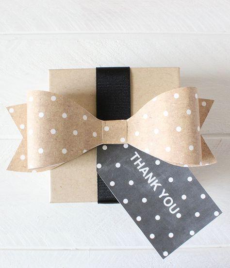 Free Printable Kraft Polka Dot Bows & Tags #printable