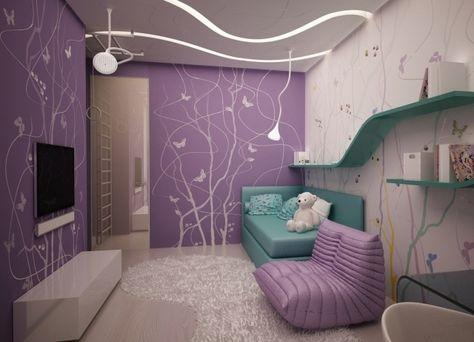 Wandgestaltung Jugendzimmer Madchen Lila Wandfarbe Schablone