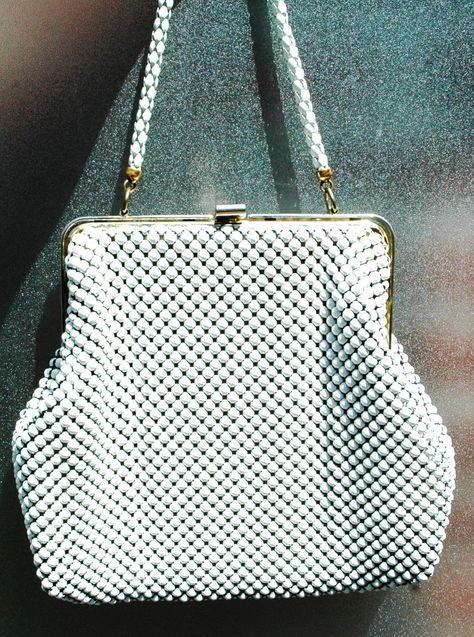 1950s Whiting Davis Co - vintage witte mesh clutch door Original20 op Etsy