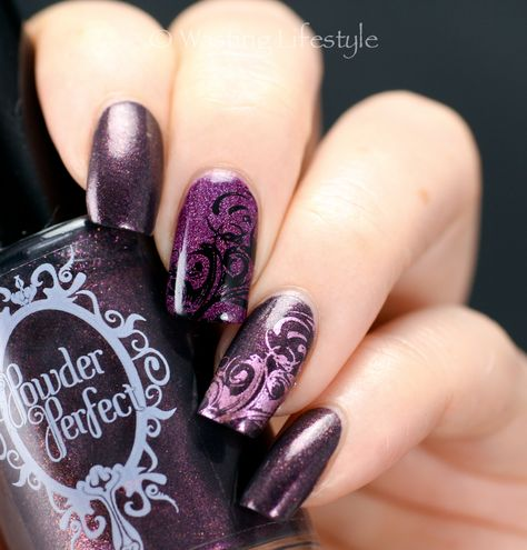 Powder Perfect In Another Time and Place and Around the Salvatore Fireplace nail art