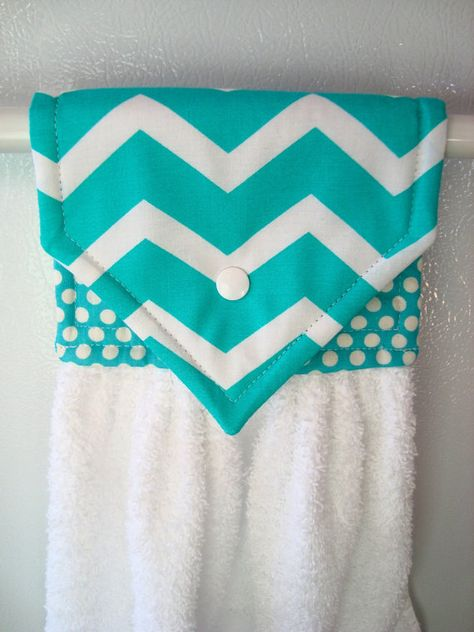 Chevron Hanging Hand Towel Teal Chevron Hand by MarlenesSewingRoom, $8.50