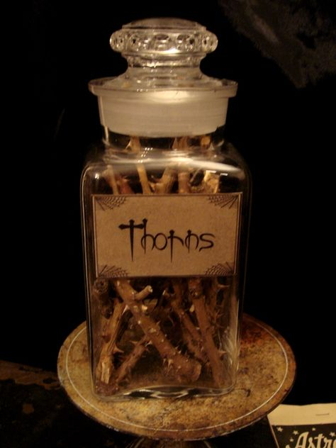 Old apothecary jar with custom made label and filled with wicked thorns! The jar is not perfect, it has some chips around the rim, nothing too major and they add wicked character. Great for Halloween decor or for a witchy look! Halloween Apothecary Jars, Halloween Potion Bottles, Halloween Labels, Halloween Projects, Holidays Halloween, Apothecary Bottles, Mason Jars, Witch Bottles, Perfume Bottles