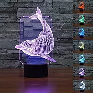 Perfect For Your Baby And Nursery 61ughsvykbl Superniudb Lovely 3d Dolphin 3d Night Light Table Desk Optical Illusion Lamps 7 Color Changing Lights Automatical In 2020