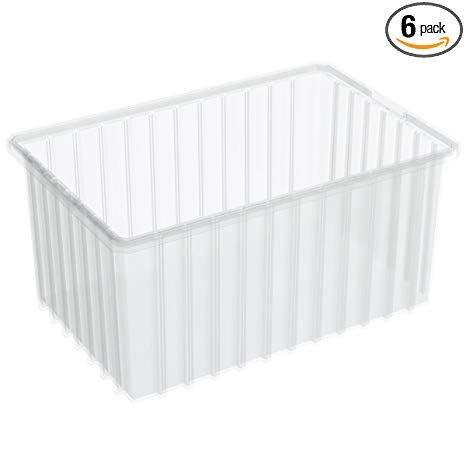 Akro Mils 33168 16 1 2 Inchl By 10 7 8 Inch W By 8 Inch H Akro Grid Slotted Divider Plastic Tote Box Clear 6 Pack Review Divider Drawer Organizers 6 Packs
