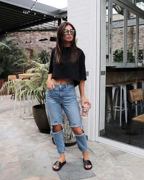 Distressed boyfriend jeans and black tee street style, street fashion, best street style,