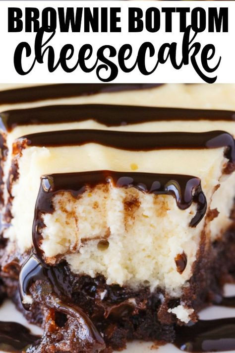 Brownie Bottom Cheesecake Brownie Bottom Cheesecake - So easy to make that you'll feel like you are cheating! Enjoy the rich chocolate brownie bottom layer topped with a creamy and sweet cheesecake filling. Use a brownie mix to save on time! Best Cheesecake, Cheesecake Brownies, Cheesecake Desserts, Köstliche Desserts, Chocolate Cheesecake Recipes, Brownie Mix Desserts, Brownie Mix Recipes, Simple Cheesecake, Layer Cheesecake