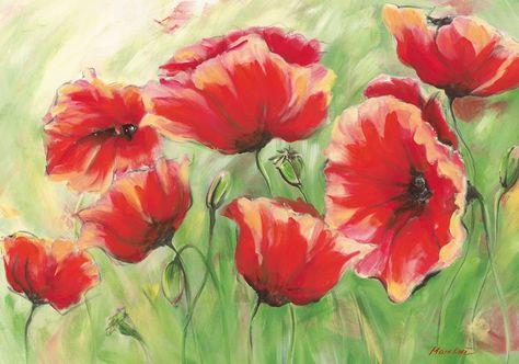 Kunstdruck Poster Marie Lou Rote Mohnblumen In 2020 Kunstmalerei Blumen Blumen Gemalde Und Blumen Kunst