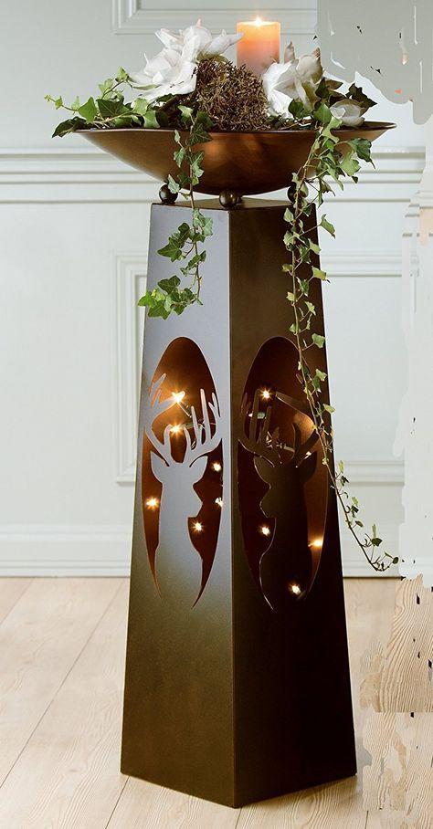 Metallstander Mit Schale Motiv Hirschkopf Amazon De Kuche