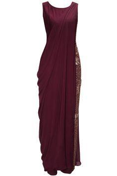Oxblood embroidered jumpsuit with attached drape by Bhaavya Bhatnagar. Shop now: www.perniaspopups.... #bhaayabhatnagar #jumpsuit #clothing #ethnic #perniaspopupshop #shopnow #happyshopping