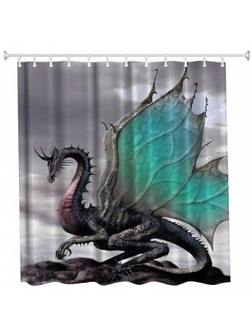 Pterosaurs Dragon Bathroom Fabric Shower Curtain Set With Hooks 71Inch LONG