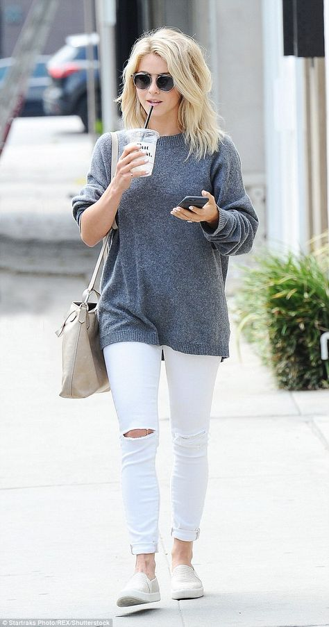 Cooling down: Julianne Hough, 27, looked casual in a grey jumper and white skinny jeans as she stepped out and about in Los Angeles on Thursday