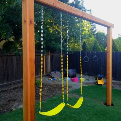 "Our new #swing #set 2 6x6x10 & 1 6x6x12. sink them in the ground 20"" cement, add the top with 3 6""lag bolts and then buy swing set parts. $150"