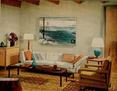 Blue Brown 1960s Living Room Warm Cool Tones George Bellows Painting 1960s Home Decor 1960s Interior 1960s Living Room