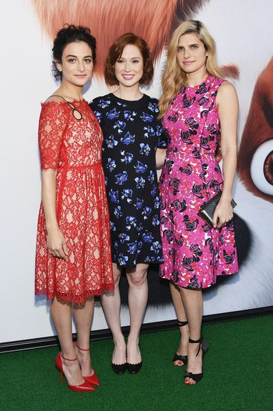 Jenny Slate, Ellie Kemper, and Lake Bell pose for a picture at 'The Secret Life Of Pets' New York Premiere.