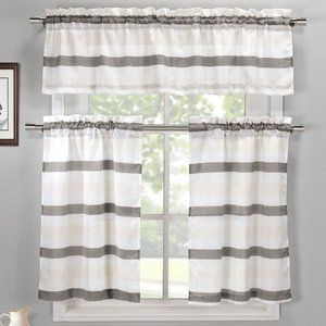 Ferguson 3 Piece Linen Kitchen Curtain Set Kitchen Curtain Sets Kitchen Curtains Curtains