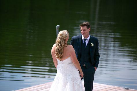 Bride + Groom sharing their first look at lakeside wedding venue in NJ | Rock Island Lake Club | Sparta, New Jersey #RockIslandLakeClub #NJwedding #NJweddingvenue #weddingvenue #wedding #weddingfirstlook #firstlook #bride #bridetobe #weddingdress #brideandgroom #weddinginspo #weddingphotos #bridesmaid #bridesmaids #maidofhonor #lakesidewedding #outdoorwedding #NJbride #weddingplanning #weddingideas #rusticwedding #naturewedding