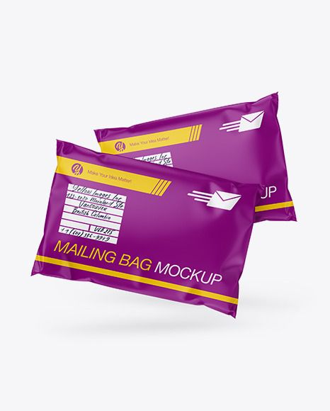 Download Two Matte Mailing Bags Mockup Front View In Bag Sack Mockups On Yellow Images Object Mockups Bag Mockup Mockup Mockup Free Psd
