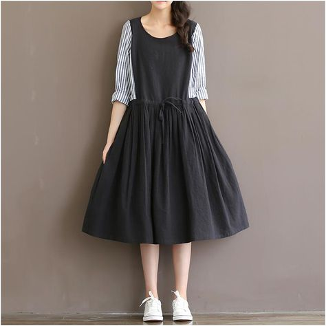 Spring Autumn Dresses Women Striped Patchwork Black Dress Long Sleeve High Waist ONeck Cotton Linen Lolita Dress Vestidos