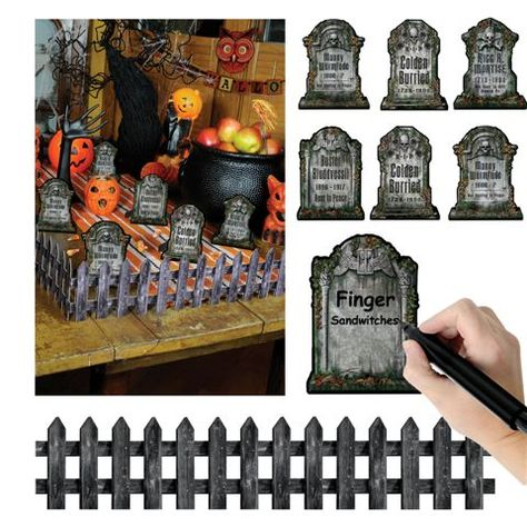 Un Set De Marque Place Halloween En Forme De Pierre Tombale Pour