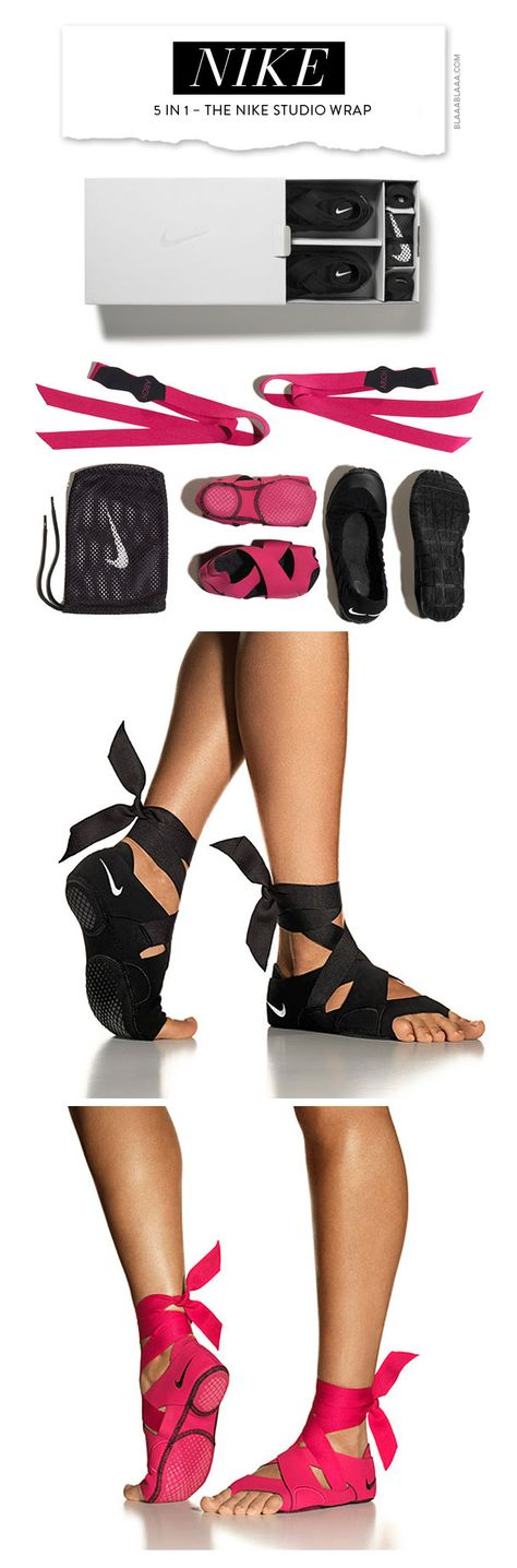 5 in 1 - The Nike Studio Wrap. Nike's new innovation can be used for barre or yoga, traction helps you hold poses without slipping and the flexibility of the shoe gives you the mobility of bare feet!