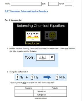 Balancing Chemical Equations Phet Worksheet Answer Key ...