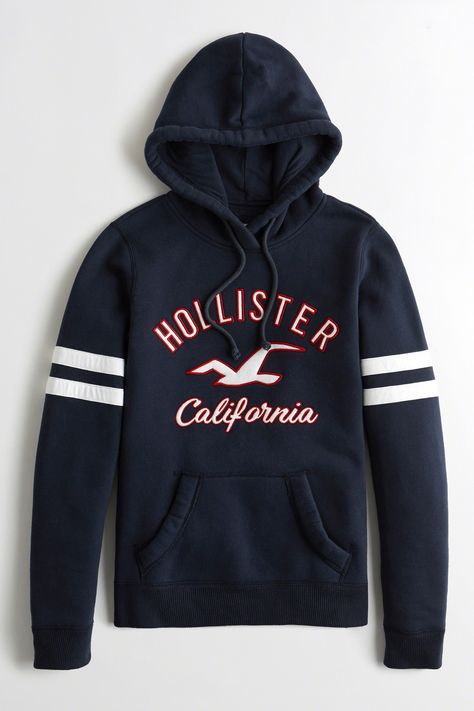 Womens Hollister Navy Tiger Logo Hoody Blue | Fashion