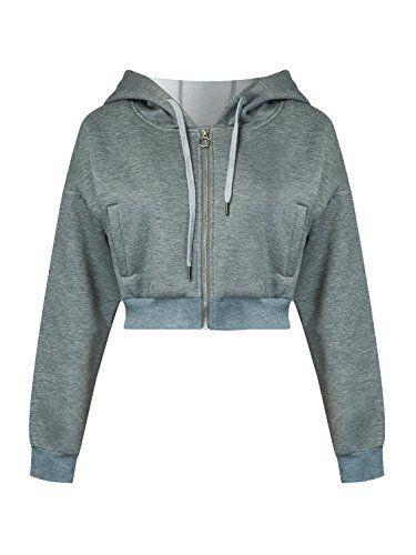 Womens Ladies Fleece Zipper Up Hoodie Zipper Sweatshirt Hooded Cropped Hoody Top