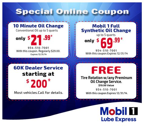 coupon for express oil change and service center