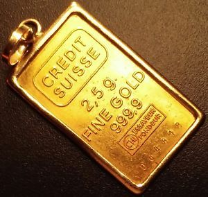 Credit Suisse 2 5 Gram 999 Fine Gold Bar In 14k Bezel Large Ingot Bullion Medal Gold Coins Gold Bullion Gold
