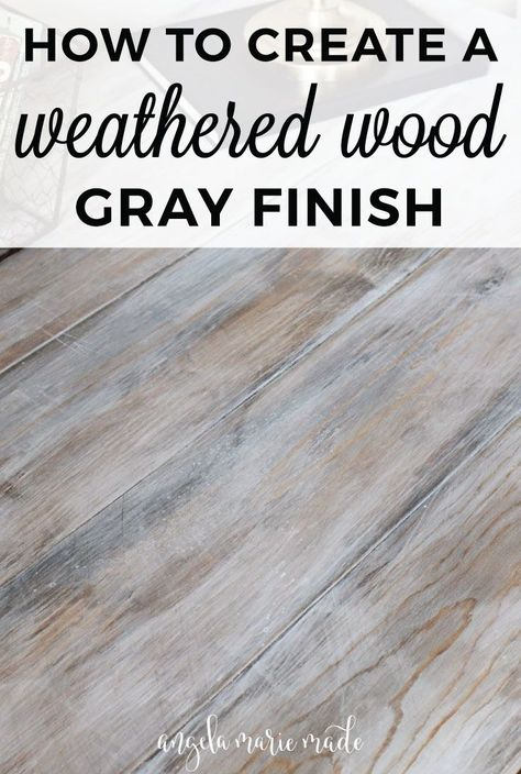 Wood Projects How to create a weathered wood gray finish - Easy tutorial on how to create a weathered wood gray finish. Make new wood look like old weathered wood or refinish your furniture with this wood finish. Diy Holz, Grey Wash, White Wash Stain, White Stain On Wood, White Wash Wood Floors, White Wash Dresser, White Wash Table, Red Oak Floors, Diy Desk