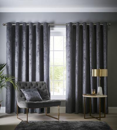 Velvet Navara Designer Ready Made Curtains In Slate Grey Textured Velvet Ready Made Eyelet Curtains Curtains Grey Room