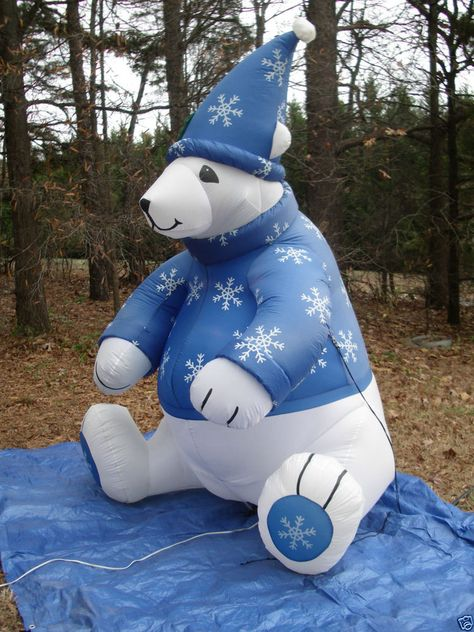 8' Tall Gemmy Polar Bear w/Sweater Lighted Christmas Airblown Inflatable Blow-up