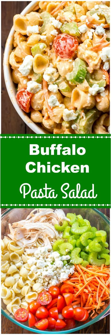 This Buffalo Chicken Pasta Saladis a tangy, creamy pasta salad with chicken, shell pasta, celery, carrots,and tomatoes, covered in a creamysauce made with spicy Buffalo Wing Sauce, like Frank's Hot Sauce, and ranch dressing with bleu cheese crumbles. #PastaSalad #BuffaloChicken #BuffaloChickenPastaSalad #SummerSalad